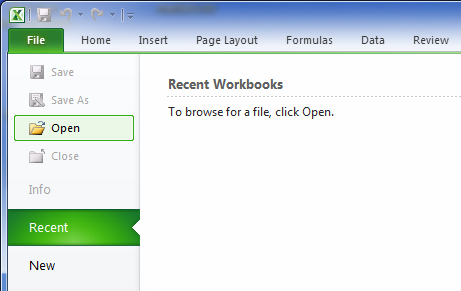 excel menu choose open